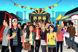 A vector illustration of people having fun in street food festival